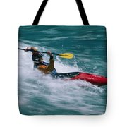 Whitewater Kayaker Surfing A Standing Tote Bag