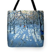 Winter Woodland Near Newhaven Derbyshire Tote Bag