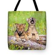 Wolf Cubs On Log Tote Bag