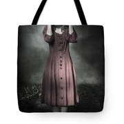 Woman And Teddy Tote Bag