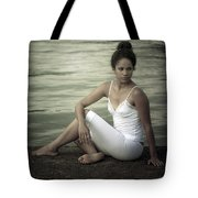 Woman At A Lake Tote Bag