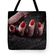 Woman Hand With Red Nails On Black Sand Tote Bag