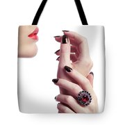 Woman Hands And Lips Tote Bag