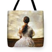 Woman On A Meadow Tote Bag