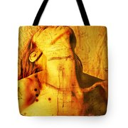 Woman With Words And Numbers Tote Bag