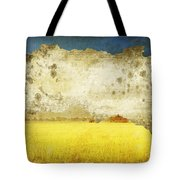 Yellow Field On Old Grunge Paper Tote Bag
