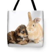 Yorkipoo Pup With Sandy Rabbit Tote Bag