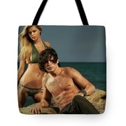 Young Beautiful Couple At The Beach Tote Bag