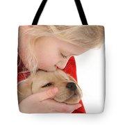 Young Girl With Yellow Labrador Tote Bag