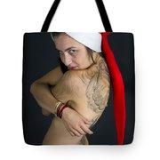 Young Woman Wearing Santa Hat Tote Bag