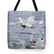 An Fa-18e Super Hornet Launches Tote Bag