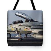 An F-14d Tomcat On The Flight Deck Tote Bag