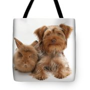 Puppy And Rabbit Tote Bag