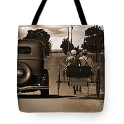 1934 Chevy And Today's Horse And Buggy By Randall Branham Tote Bag