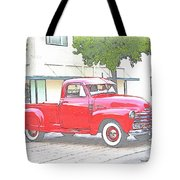 1953 Red Chevy Pickup Truck Tote Bag