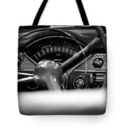 1955 Chevy Bel Air Dashboard In Black And White Tote Bag by Sebastian Musial