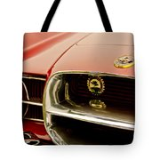 1957 Dual Ghia Convertible Coupe Grille And Hood Emblem Tote Bag