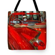 1959 Cadillac At The Pumps Tote Bag