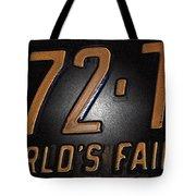 1965 New York World's Fair License Plate Tote Bag