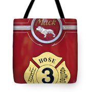 1966 Mac C Model Open Cab Fire Truck Emblem Tote Bag