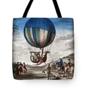1st Manned Hydrogen Balloon Flight, 1783 Tote Bag