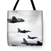 A B-52 Stratofortress Leads A Formation Tote Bag