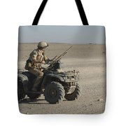 A British Army Soldier Provides Tote Bag