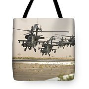 A Group Of Ah-64d Apache Helicopters Tote Bag