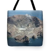 Aerial View Of White Island Volcano Tote Bag