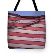 An American Flag At Sunrise Tote Bag