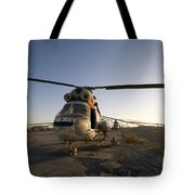 An Iraqi Helicopter Sits On The Flight Tote Bag