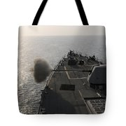 An Mk-45 Lightweight Gun Is Fired Tote Bag