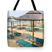Beach Umbrellas On Sandy Seashore Tote Bag by Elena Elisseeva