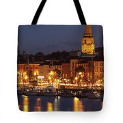 Boats Moored On River Suir At City Tote Bag