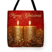 2 Candles Christmas Card Tote Bag