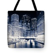 Chicago River Buildings At Night Tote Bag
