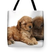 Cockerpoo Puppy And Rabbit Tote Bag