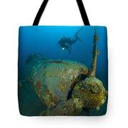 Diver Explores The Wreck Tote Bag