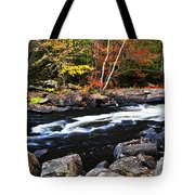 Fall Forest And River Landscape Tote Bag