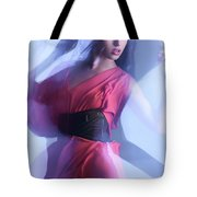 Fashion Photo Of A Woman In Shining Blue Settings Tote Bag