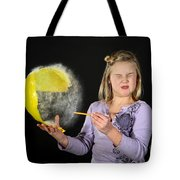 Girl Popping A Balloon Tote Bag