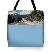Highway In Winter Through Mountains Tote Bag
