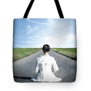 Lady On The Road Tote Bag