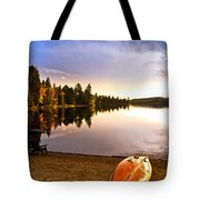 Lake Sunset With Canoe On Beach Tote Bag