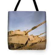 M1 Abrams Tanks At Camp Warhorse Tote Bag