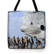 Marines Board A Ch-46e Sea Knight Tote Bag