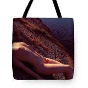 Nude Woman Lying On Rocks By The Water Tote Bag