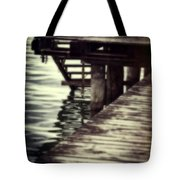 Old Wooden Pier With Stairs Into The Lake Tote Bag by Joana Kruse