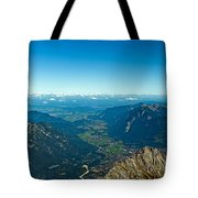 Panoramic View Zugspitze German Austrian Boarder Tote Bag