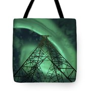 Powerlines And Aurora Borealis Tote Bag by Arild Heitmann